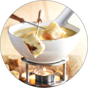 Fondue with different kinds of cheeses