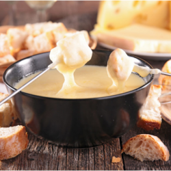 Fondue - a traditional Swiss dish, suitable for summer days